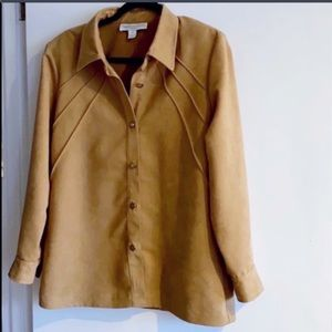 Conrad C (12P) Tan Faux Suede Top-EUC!!!